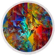 Colorful Crash 11 Round Beach Towel