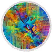 Colorful Crash 8 Round Beach Towel