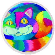 Colorful Crazy Cat Round Beach Towel