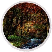 Colorful Creek Round Beach Towel