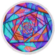 Colorful Cuts Fractal Round Beach Towel