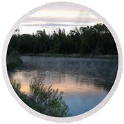 Colorful Dawn Reflections Round Beach Towel