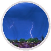 Colorful Desert Storm Round Beach Towel