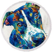 Colorful Dog Art - Happy Go Lucky - By Sharon Cummings Round Beach Towel