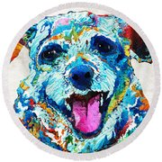 Colorful Dog Art - Smile - By Sharon Cummings Round Beach Towel