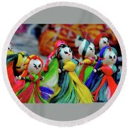 Colorful Dolls Round Beach Towel