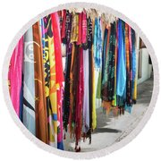 Colorful Dominican Garments Round Beach Towel