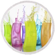 Colorful Drink Splashing From Glasses Round Beach Towel