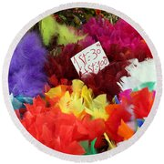 Colorful Easter Feathers Round Beach Towel