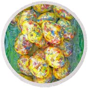Colorful Eggs Round Beach Towel