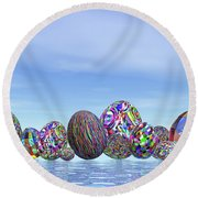 Colorful Eggs For Easter - 3d Render Round Beach Towel