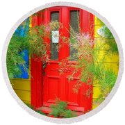 Colorful Entrance ... Round Beach Towel