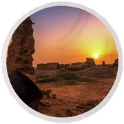 Colorful Evening In The Ruined World.. Round Beach Towel