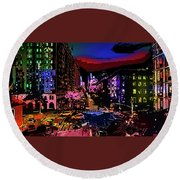 Colorful Evening Shadows Round Beach Towel