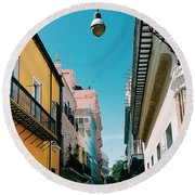 Colorful Facades Round Beach Towel