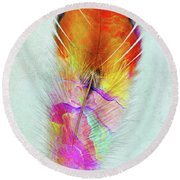 Colorful Feather Art Round Beach Towel