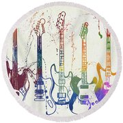 Colorful Fender Guitars Paint Splatter Round Beach Towel