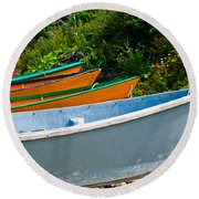 Colorful Fishing Boats On A Rocky Shore  Grand Manan Round Beach Towel