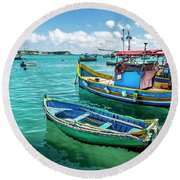 Colorful Fishing Boats Round Beach Towel