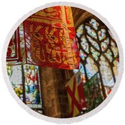 Colorful Flags And Stained Glasss Windows Round Beach Towel