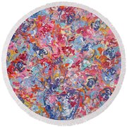 Colorful Floral Bouquet. Round Beach Towel