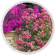 Colorful Flowering Shrubs Round Beach Towel