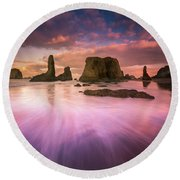 Colorful Flux From Seastacks Round Beach Towel