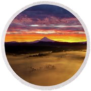 Colorful Foggy Sunrise Over Sandy River Valley Round Beach Towel