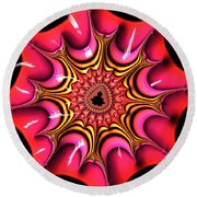 Colorful Fractal Art With Candy-colors Round Beach Towel