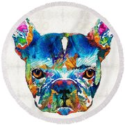 Colorful French Bulldog Dog Art By Sharon Cummings Round Beach Towel