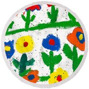 Colorful Garden Round Beach Towel