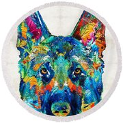 Colorful German Shepherd Dog Art By Sharon Cummings Round Beach Towel by Sharon Cummings
