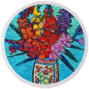 Colorful Gladiolus Round Beach Towel