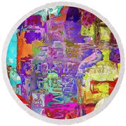Colorful Glass Bottles Abstract Round Beach Towel