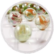 Colorful Glass Marbles Close-up Views Round Beach Towel