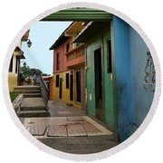 Colorful Guayaquil Alley Round Beach Towel
