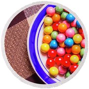 Colorful Gumballs On Plate Round Beach Towel