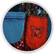 Colorful Hanging Pouches Round Beach Towel