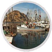 Colorful Harbor Round Beach Towel