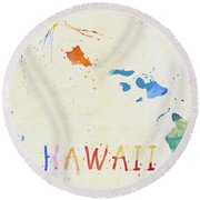 Colorful Hawaii Map Round Beach Towel