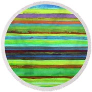 Colorful Horizontal Stripes Round Beach Towel