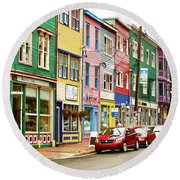 Colorful Houses In St Johns In Newfoundland Round Beach Towel