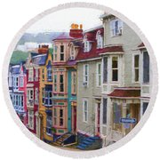 Colorful Houses In St. Johns, Nl Round Beach Towel