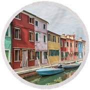Colorful Houses On The Island Of Burano Round Beach Towel