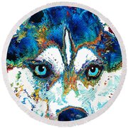 Colorful Husky Dog Art By Sharon Cummings Round Beach Towel