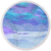 Colorful Icebergs - 3d Render Round Beach Towel