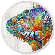 Colorful Iguana Art - One Cool Dude - Sharon Cummings Round Beach Towel