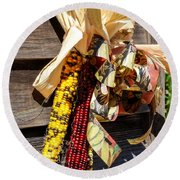 Colorful Indian Corn Decorations Round Beach Towel