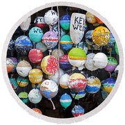 Colorful Key West Lobster Buoys Round Beach Towel by John Stephens