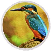 Colorful Kingfisher Round Beach Towel